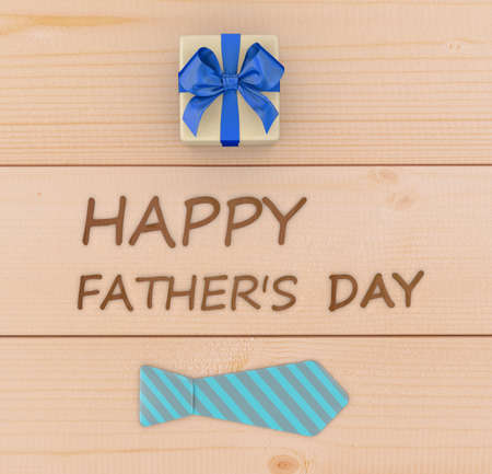 lazo regalo: Fathers day composition of  tie laid and gift box on wooden floor backround 3d rendering Foto de archivo