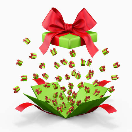 red gift box: Gift box emitting little gift boxes with a red ribbon, Gift box  opening 3d rendering