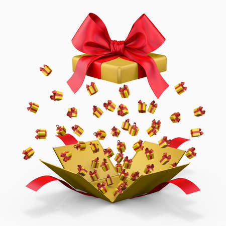 emitting: Gift box emitting little gift boxes with a red ribbon, Gift box  opening 3d rendering