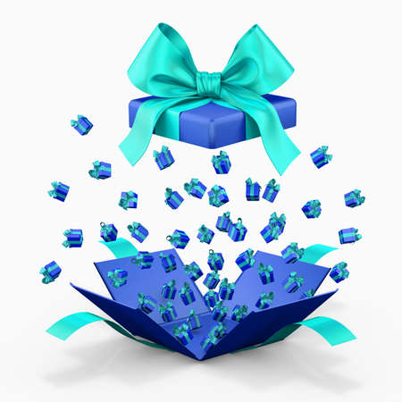 love blast: Gift box emitting little gift boxes with a blue sky ribbon, Gift box  opening 3d rendering