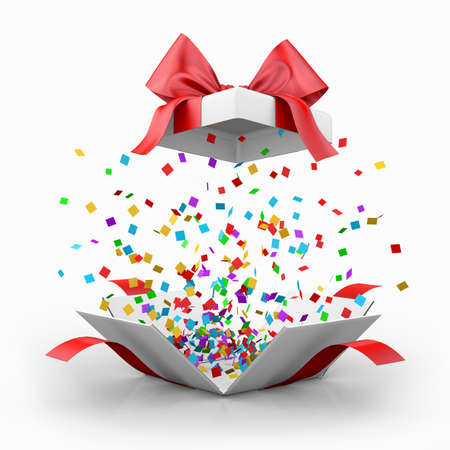 red gift box: Opened realistic gift box with red bow and confetti. gift box 3d rendering