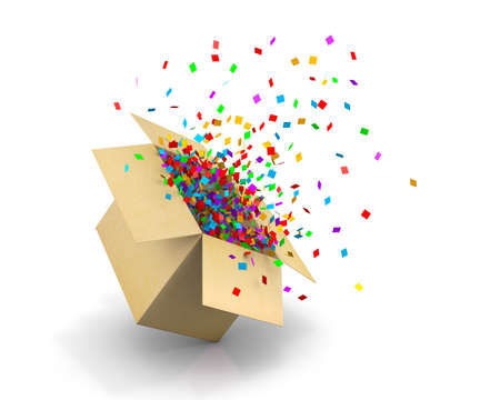 opening gift: Opening Gift Box and Confetti. Illustration 3d rendering