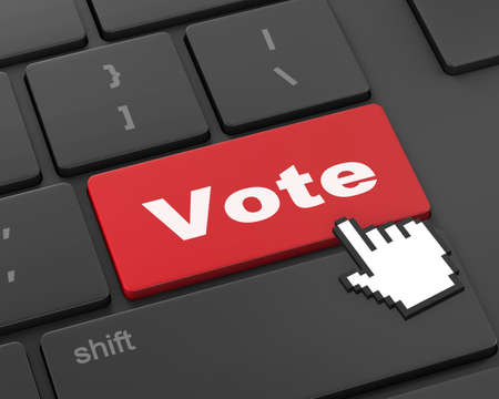 vote button: vote button on computer keyboard showing internet concept, 3d rendering