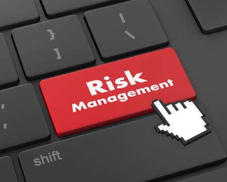 unfavorable: Orange Risk Management Button on Computer Keyboard. Business Concept, 3d rendering Stock Photo