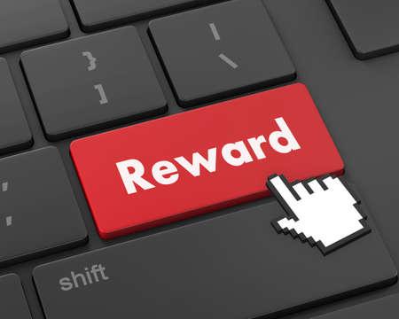 payoff: Rewards keyboard keys showing payoff, 3d rendering