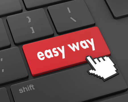 easy way: easy way button on computer keyboard pc key, raster, 3d rendering Stock Photo