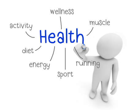 surgery costs: health text ,business man writing health concept ,Man explain the meaning of health , 3d rendering