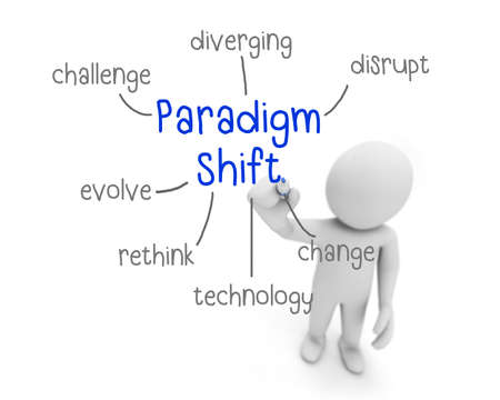 paradigm: paradigm shift text ,business man writing paradigm shift concept ,Man explain components of paradigm shift, 3d rendering