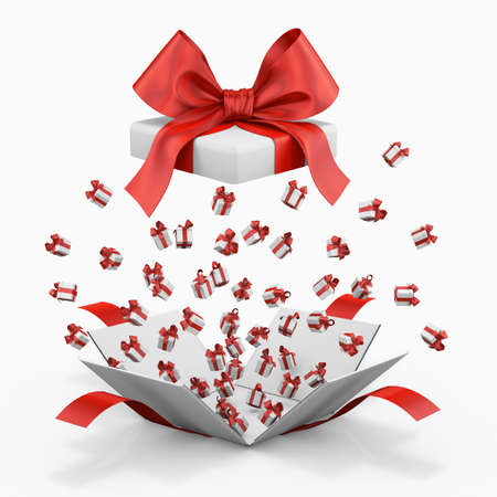 red gift box: Gift box emitting little gift boxes with a red ribbon, Gift box  3d rendering