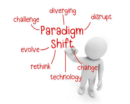 paradigm shift text ,business man writing paradigm shift concept ,Man explain components of paradigm shift, 3d rendering