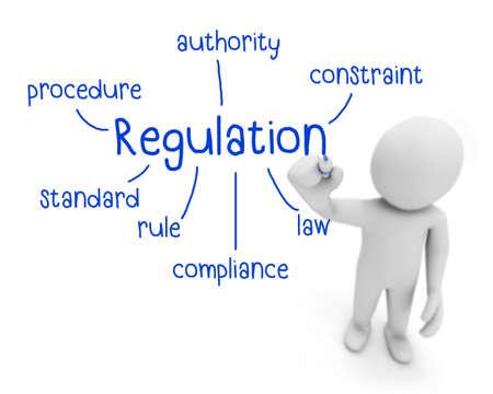 regulation: regulation text ,business man writing regulation concept ,Man explain components of regulation , 3d rendering