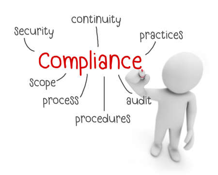 compliance text ,business man writing ccompliance  concept ,Man explain components of compliance   , 3d rendering Stockfoto