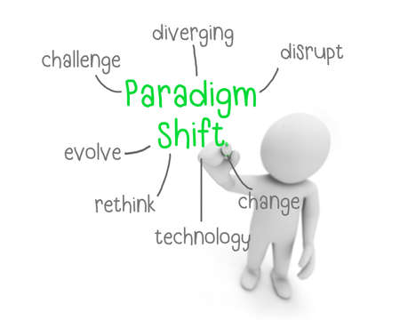 quo: paradigm shift red and black text ,business man writing paradigm shift concept ,Man explain components of paradigm shift, 3d rendering