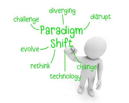 shift: paradigm shift text ,business man writing paradigm shift concept ,Man explain components of paradigm shift, 3d rendering