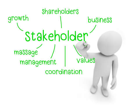 creditors: stakeholder text ,business man writing stakeholder concept ,Man explain components of stakeholder, 3d rendering
