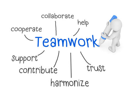 to partake: teamwork text ,business man writing teamwork  concept ,Man Explain the meaning of teamwork  , 3d rendering Stock Photo