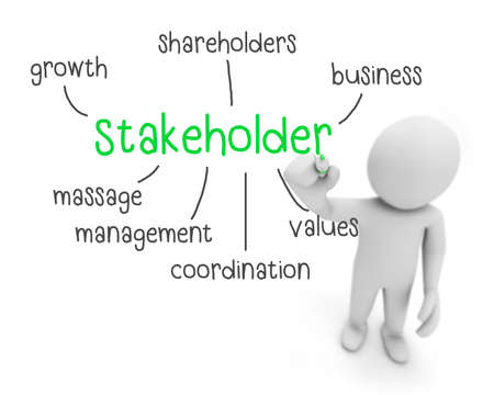 selling points: stakeholder text ,business man writing stakeholder concept ,Man explain components of stakeholder, 3d rendering