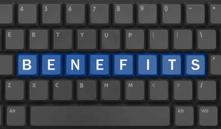 fringe benefit: Benefits - Business Concept. Button on Computer Keyboard, 3d rendering Stock Photo