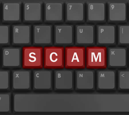 web scam: Scam Computer Keys Showing Swindles And Fraud, 3d rendering