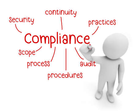compliance text ,business man writing ccompliance  concept ,Man explain components of compliance   , 3d rendering Stock Photo
