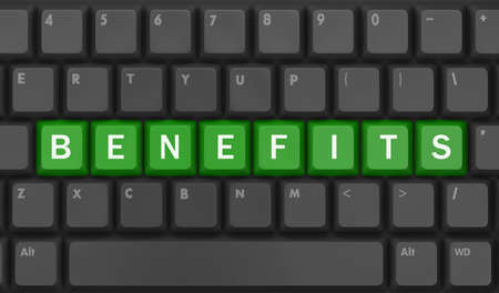 usp: Benefits - Business Concept. Button on Computer Keyboard, 3d rendering Stock Photo