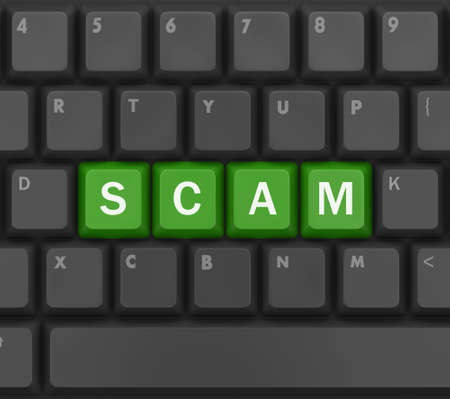 con man: Scam Computer Keys Showing Swindles And Fraud, 3d rendering