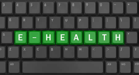 Text e-health-knop, 3D-rendering