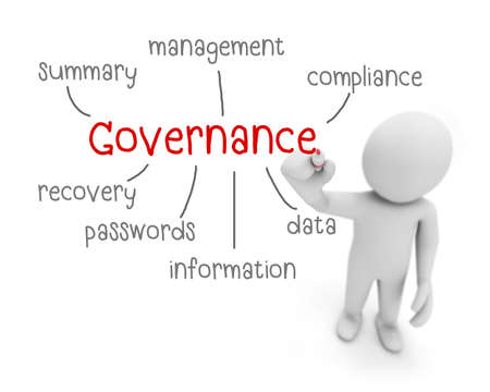governance: governance text ,business man writing governance concept ,Man Explain the meaning of governance , 3d rendering