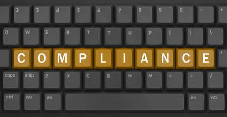 assessment system: compliance text, Computer keyboard with compliance key - technology background, 3d rendering Stock Photo