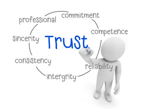 liable: trust text ,business man writing trust concept ,Man explain components of trust , 3d rendering Stock Photo