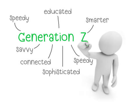 savvy: generation z text ,business man writing generation z concept ,Man Explain the meaning of generation z, 3d rendering Stock Photo