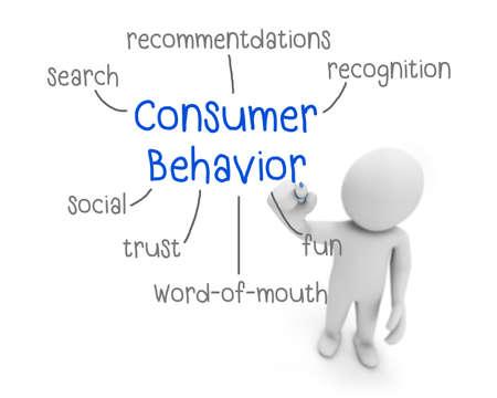 behavior: business man writing consumer behavior concept ,Man Explain the meaning of consumer behavior, 3d rendering Stock Photo