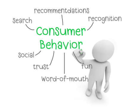 business man writing consumer behavior concept ,Man Explain the meaning of consumer behavior, 3d rendering Stock Photo