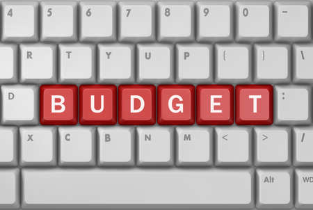 bankroll: Text budget button, 3d rendering Stock Photo