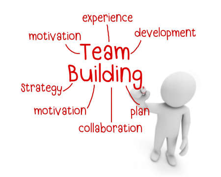team building text ,business man writing team building concept ,Man Explain the meaning of team building , 3d rendering