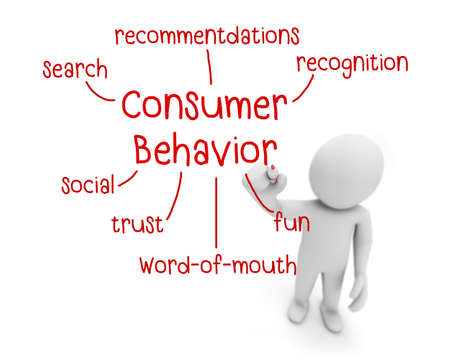 consumer: business man writing consumer behavior concept ,Man Explain the meaning of consumer behavior, 3d rendering Stock Photo