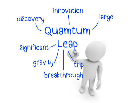 reengineering: business man writing quamtum leap concept ,Man Explain the meaning of quamtum leap, 3d rendering