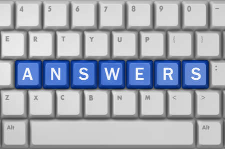 answers concept: answers concept on the keyboard, 3d rendering Stock Photo