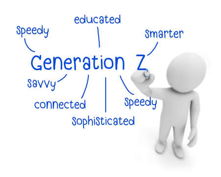 technologically: generation z text ,business man writing generation z concept ,Man Explain the meaning of generation z, 3d rendering Stock Photo