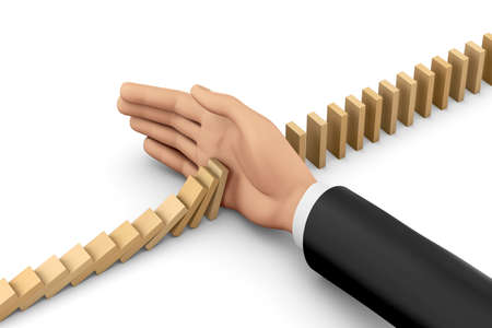 risk management, hand stopping the domino effect, risk control concept ,3d rendering