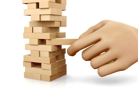 tower block: Risk concept, The tower from wooden blocks and mans hand take one block , 3d rendering Stock Photo