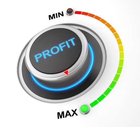 dividend: profit button position. Concept image for illustration of profit in the maximum position , 3d rendering Stock Photo