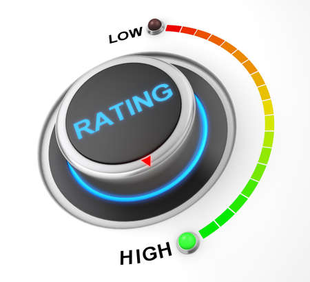 satisfied customer: rating button position. Concept image for illustration of rating in the highest position , 3d rendering Stock Photo