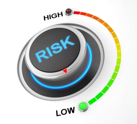 probability: risk button position. Concept image for illustration of risk in the lowest position , 3d rendering