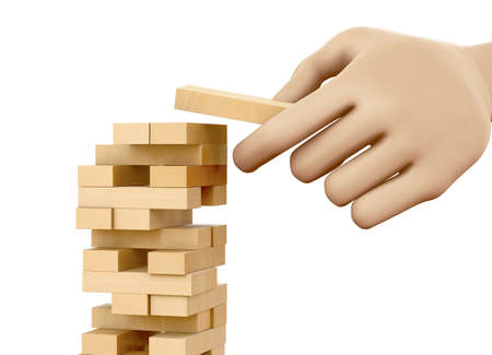 fragile economy: risk concept, Planning, risk and strategy in business, businessman gambling placing wooden block on a tower, 3d rendering Stock Photo