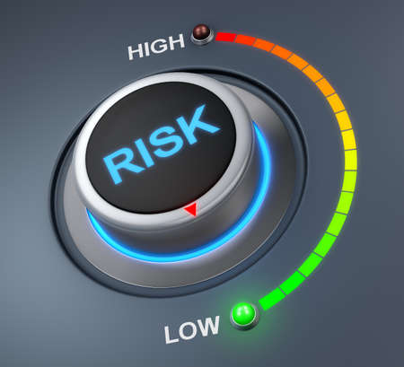 operational: risk button position. Concept image for illustration of risk in the lowest position , 3d rendering