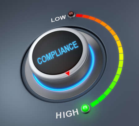 compliance button position. Concept image for illustration of compliance in the highest position , 3d rendering Banco de Imagens