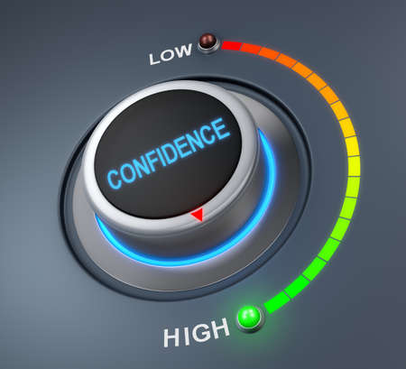 confidence: confidence button position. Concept image for illustration of confidence in the highest position , 3d rendering