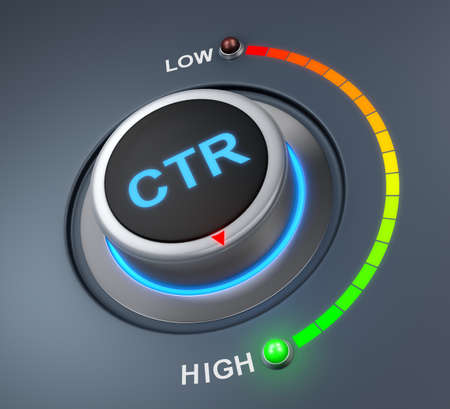 pay raise: CTR button position. Concept image for illustration of ctr in the highest position , 3d rendering Stock Photo