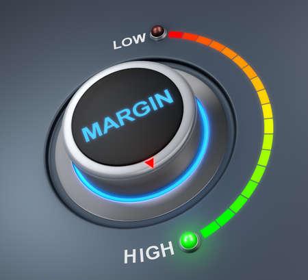 margin button position. Concept image for illustration of margin in the highest position , 3d rendering